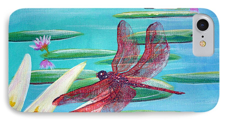Water IPhone 7 Case featuring the painting Water Lilies And Dragonfly by Susan Kubes