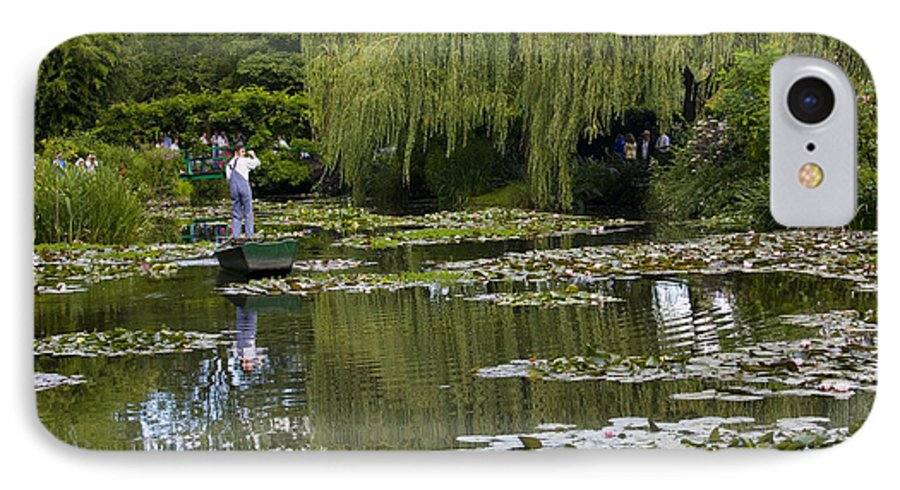 Monet Gardens Giverny France Water Lily Punt Boat Water Willows IPhone 7 Case featuring the photograph Water Lily Garden Of Monet In Giverny by Avalon Fine Art Photography