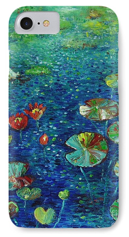 Lotus Paintings IPhone 7 Case featuring the painting Water Lily Lotus Lily Pads Paintings by Seon-Jeong Kim
