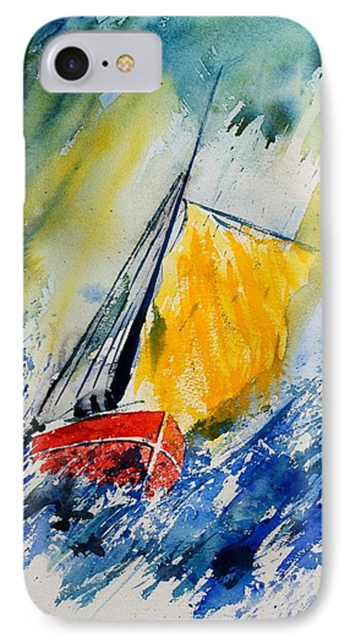 Sea Waves Ocean Boat Sailing IPhone 7 Case featuring the painting Watercolor 280308 by Pol Ledent