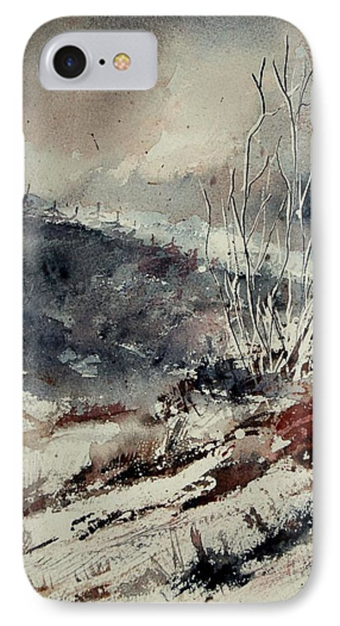Snow IPhone 7 Case featuring the print Watercolor 446 by Pol Ledent