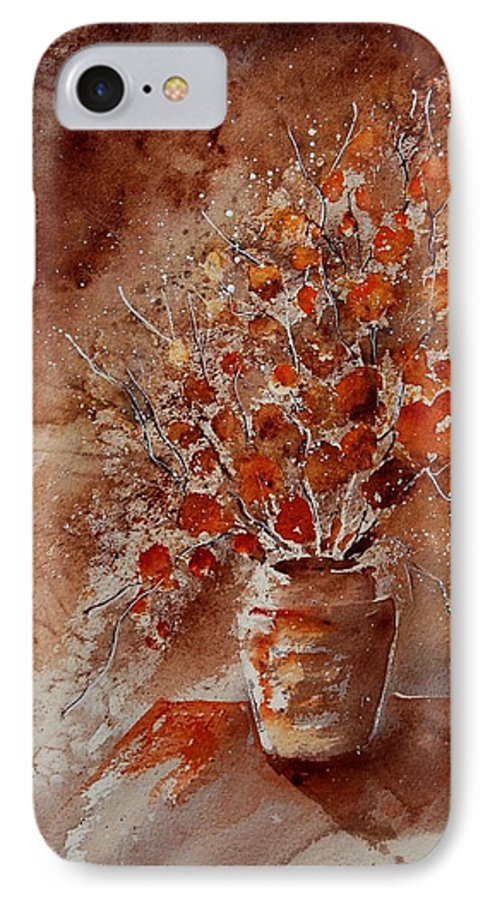 Poppies IPhone 7 Case featuring the painting Watercolor Autumn Bunch by Pol Ledent