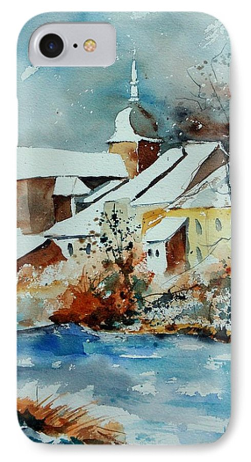 Landscape IPhone 7 Case featuring the painting Watercolor Chassepierre by Pol Ledent