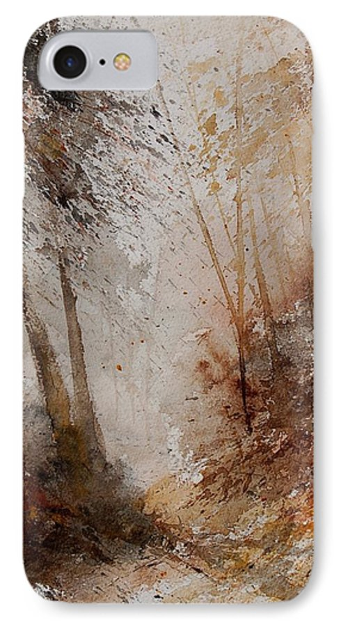 Landscape IPhone 7 Case featuring the painting Watercolor Misty Path by Pol Ledent