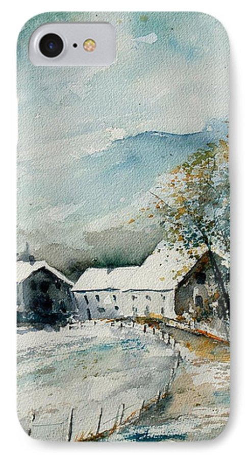 River IPhone 7 Case featuring the painting Watercolor Sechery 1207 by Pol Ledent
