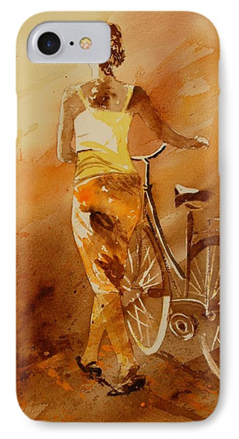 Figurative IPhone 7 Case featuring the painting Watercolor With My Bike by Pol Ledent
