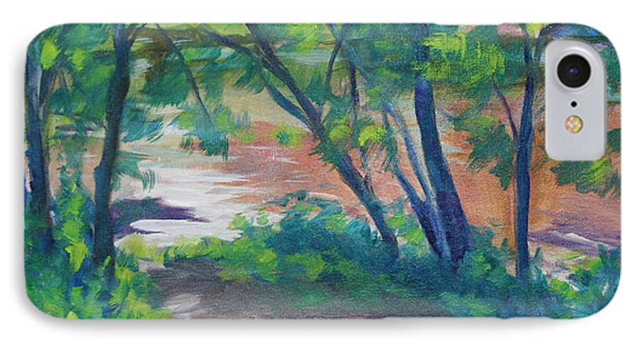 Landscape IPhone 7 Case featuring the painting Watercress Beach On The Current River  by Jan Bennicoff