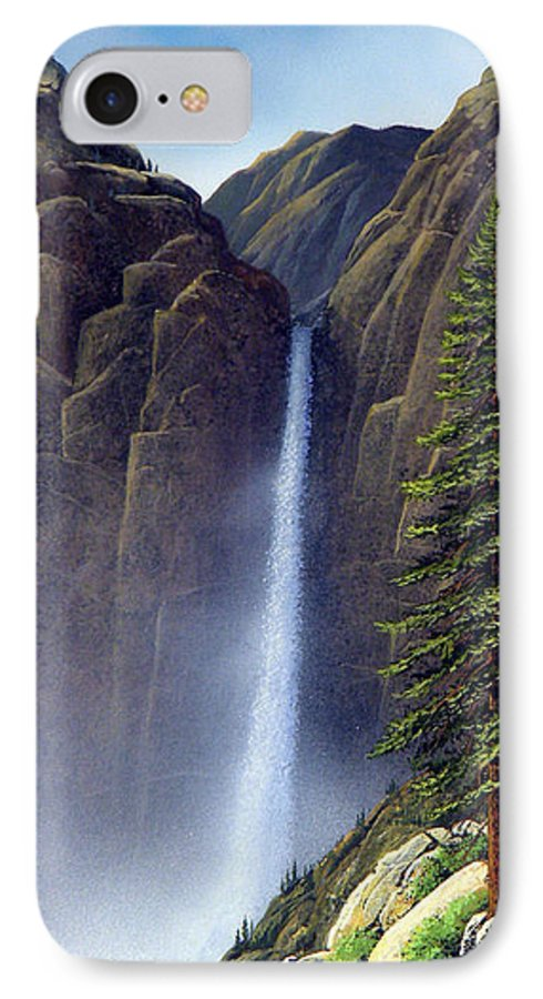 Wilderness IPhone 7 Case featuring the painting Waterfall by Frank Wilson