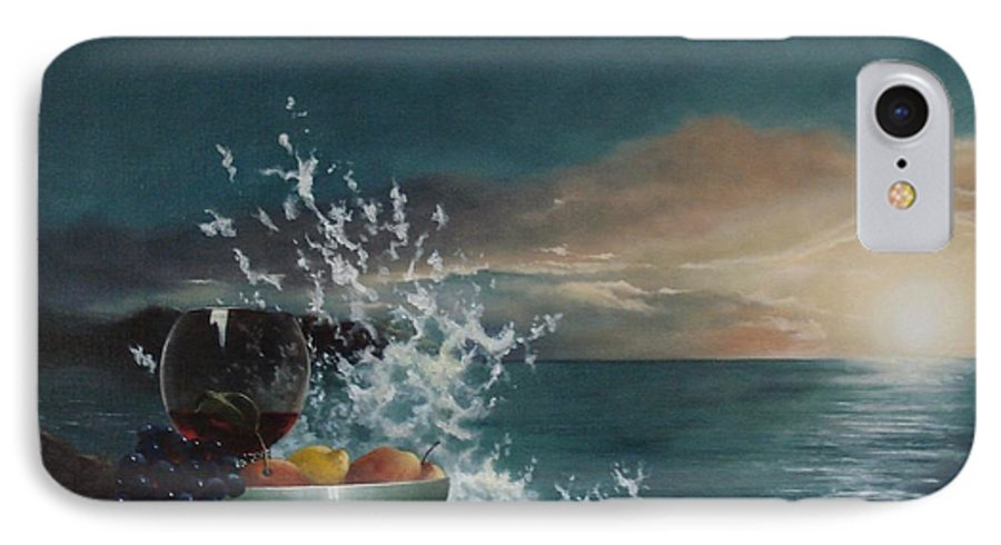 Seascape IPhone 7 Case featuring the painting Wave by Tjerk Reijinga