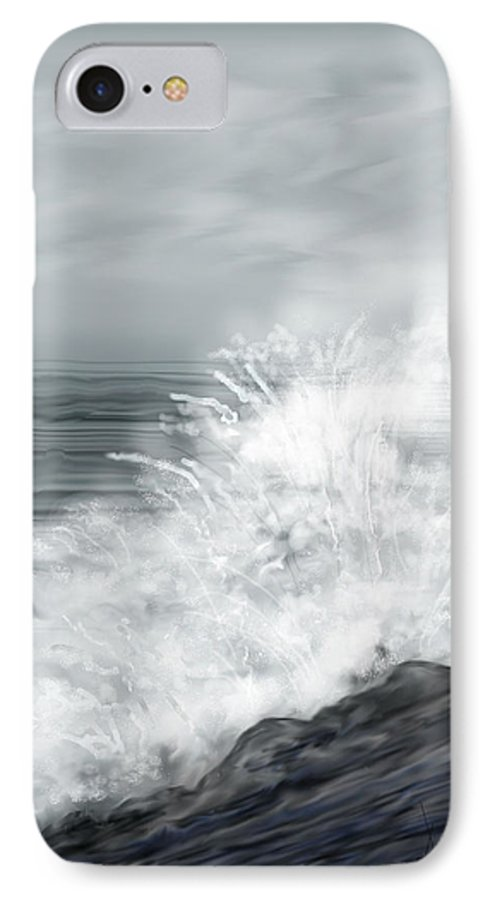 Seascape IPhone 7 Case featuring the painting Waves Crashing The Rocks In Ireland by Anne Norskog