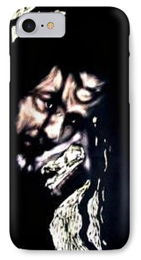Portrait IPhone 7 Case featuring the mixed media Wear My Crown Down by Chester Elmore