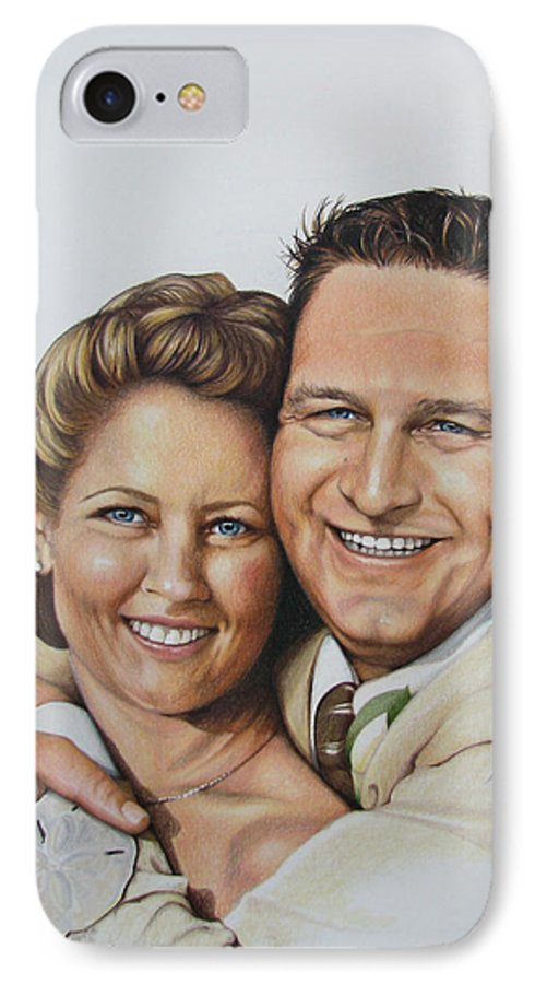 Wedding Portraits IPhone 7 Case featuring the painting Wedding Portrait Jeremy N Katie by Joan Garcia