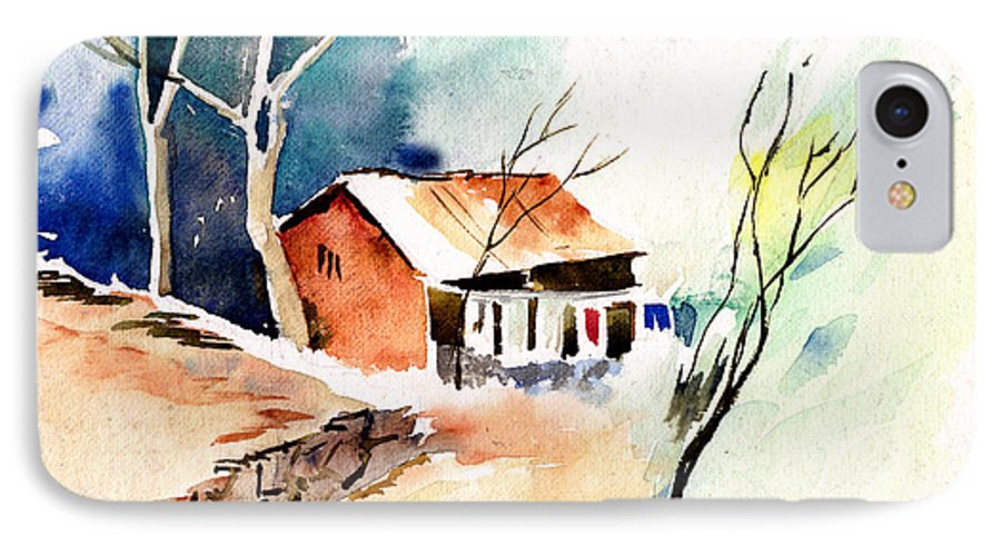 Nature IPhone 7 Case featuring the painting Weekend House by Anil Nene
