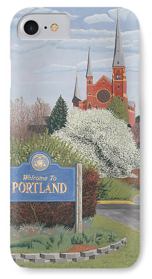 Church IPhone 7 Case featuring the painting Welcome To Portland by Dominic White