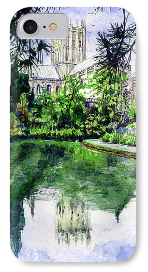 Wells IPhone 7 Case featuring the painting Wells Cathedral by John D Benson