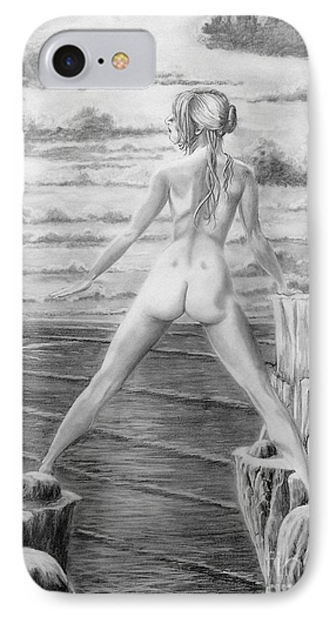 Nude IPhone 7 Case featuring the drawing Wendy From Memory. by Murphy Elliott