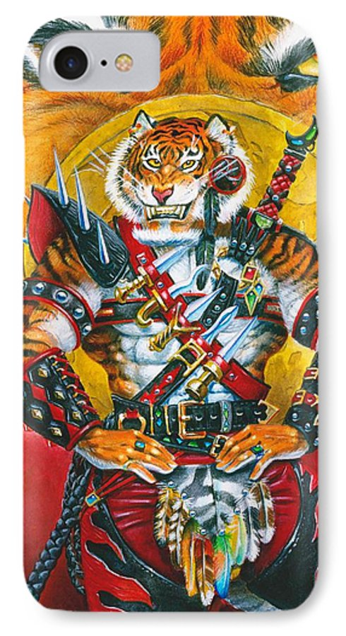 Fantasy IPhone 7 Case featuring the painting Werecat Warrior by Melissa A Benson
