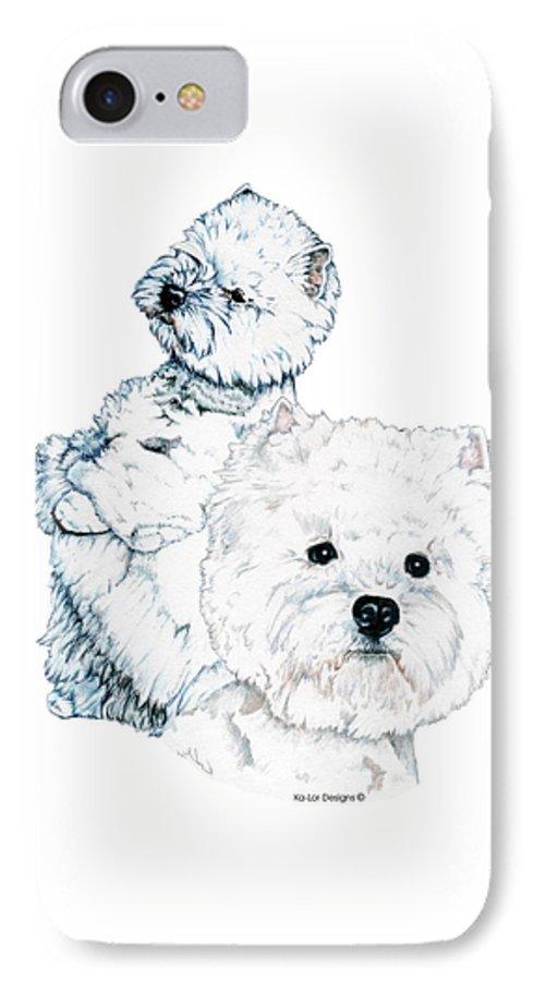 West Highland White Terrier IPhone 7 Case featuring the drawing West Highland White Terriers by Kathleen Sepulveda