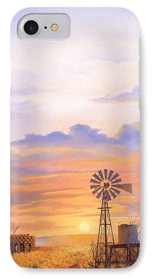 Windmill IPhone 7 Case featuring the painting West Texas Sundown by Howard Dubois