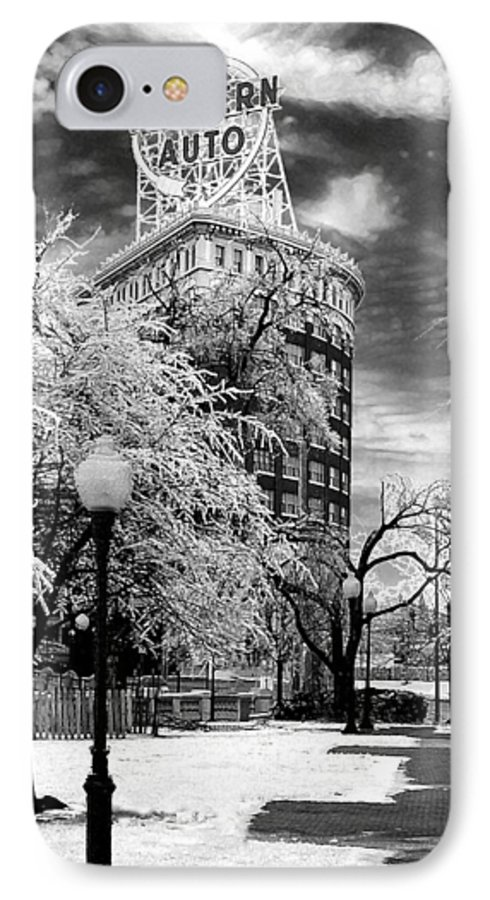 Western Auto Kansas City IPhone 7 Case featuring the photograph Western Auto In Winter by Steve Karol