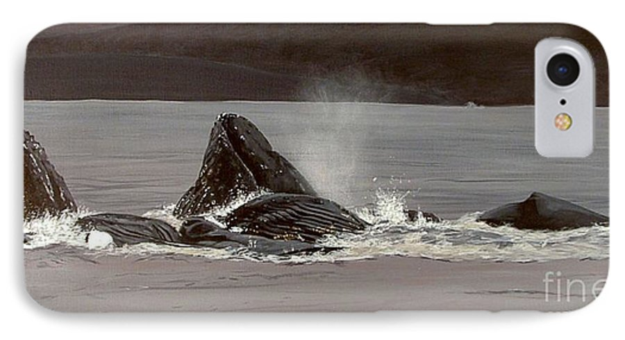 Whale IPhone 7 Case featuring the painting Whales Feeding by Shawn Stallings