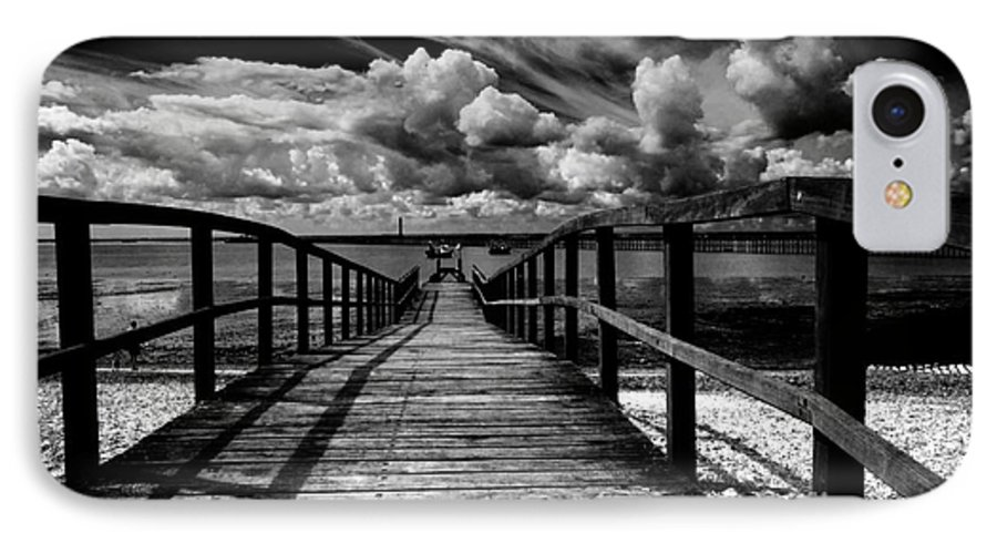 Southend On Sea Wharf Clouds Beach Sand IPhone 7 Case featuring the photograph Wharf At Southend On Sea by Avalon Fine Art Photography