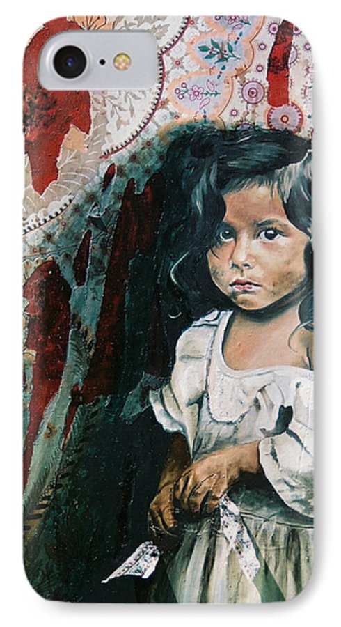 Asian Girl IPhone 7 Case featuring the painting What Is My Worth by Teresa Carter