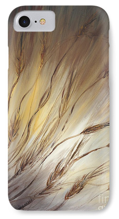 Wheat IPhone 7 Case featuring the painting Wheat In The Wind by Nadine Rippelmeyer