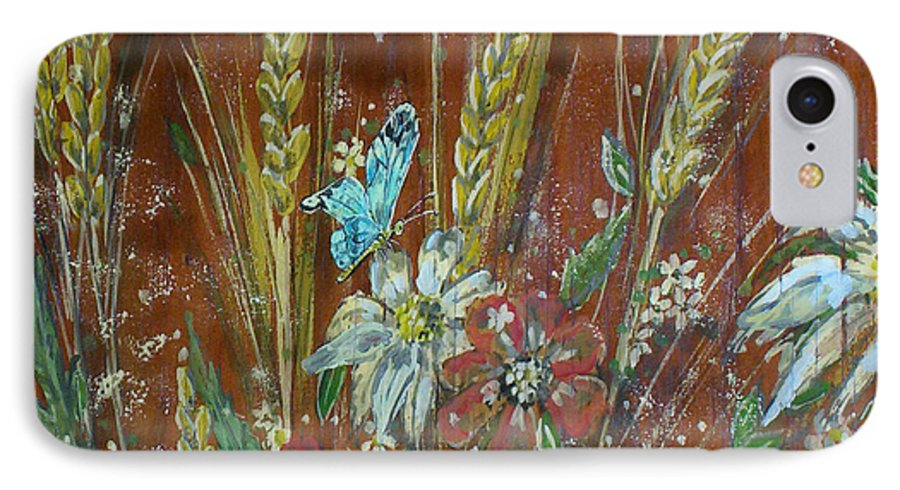 Flowers IPhone 7 Case featuring the painting Wheat 'n' Wildflowers I by Phyllis Mae Richardson Fisher