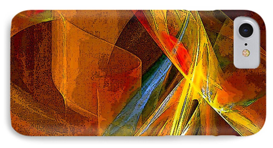 Abstract IPhone 7 Case featuring the digital art When Paths Cross by Ruth Palmer