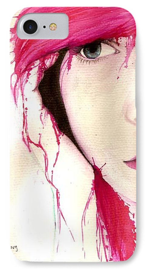 Pink Girl IPhone 7 Case featuring the drawing Where Do You Think Beauty Goes by Freja Friborg