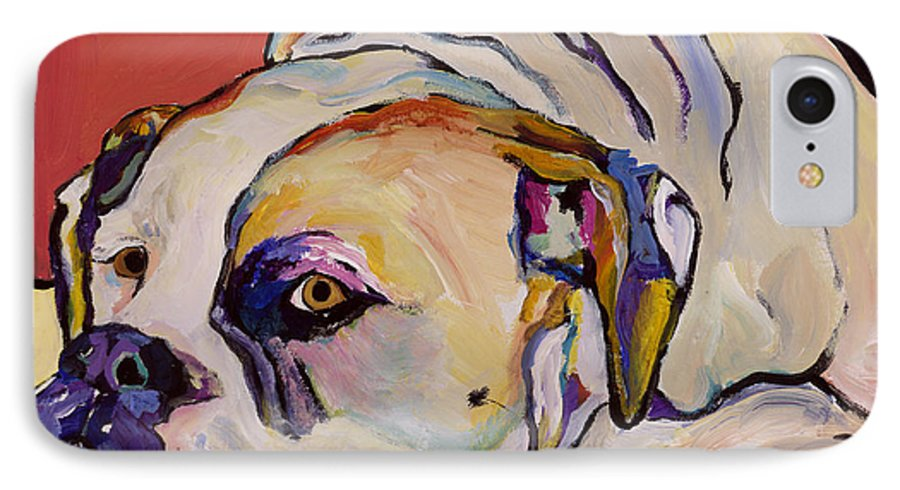 American Bulldog IPhone 7 Case featuring the painting Where Is My Dinner by Pat Saunders-White