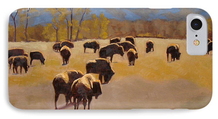 Buffalo IPhone 7 Case featuring the painting Where The Buffalo Roam by Tate Hamilton