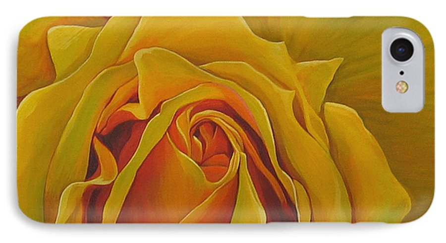 Yellow Rose IPhone 7 Case featuring the painting Where The Rose Is Sown by Hunter Jay
