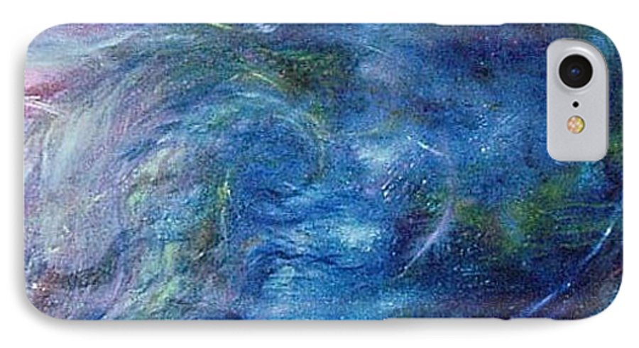 Abstract IPhone 7 Case featuring the painting Whispers In A Sea Of Blue by Nancy Mueller