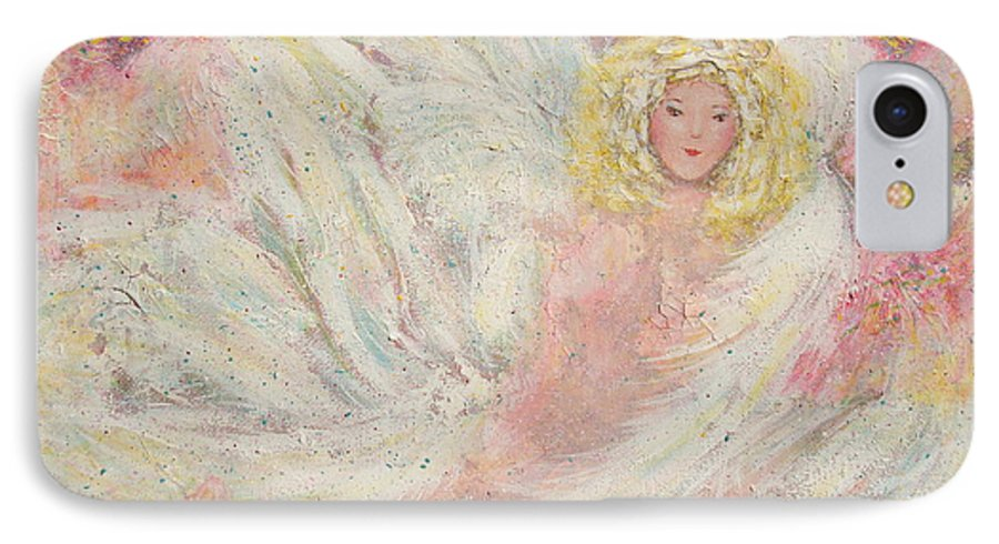 Angel IPhone 7 Case featuring the painting White Feathers Secret Garden Angel 4 by Natalie Holland