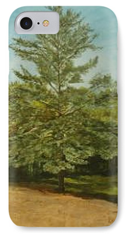 Pine Tree IPhone 7 Case featuring the painting White Lake by Leah Tomaino