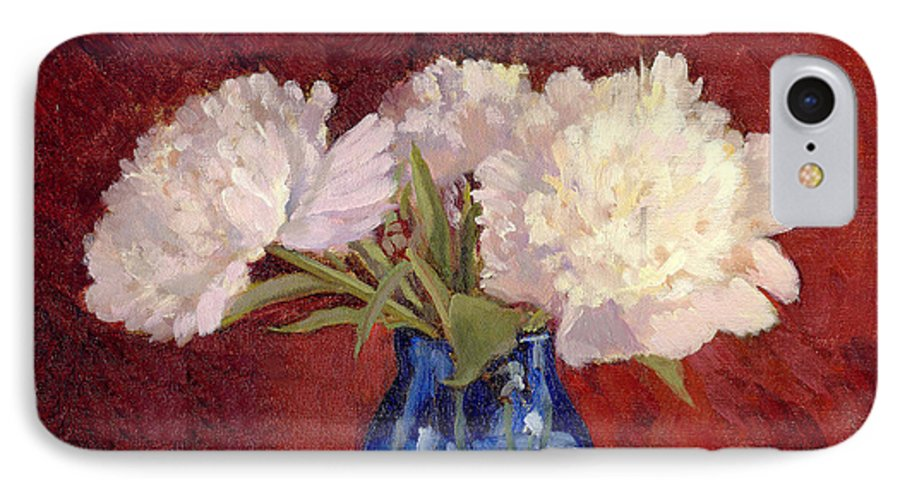 Peonies IPhone 7 Case featuring the painting White Peonies by Keith Burgess