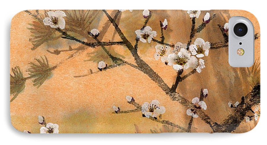 White Plum Blossoms IPhone 7 Case featuring the painting White Plum Blossoms With Pine Tree by Eileen Fong