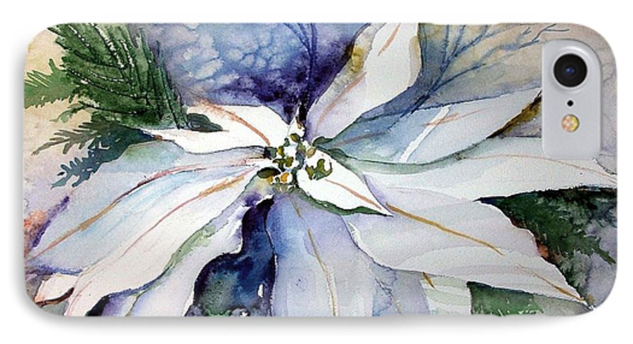 Floral IPhone 7 Case featuring the painting White Poinsettia by Mindy Newman