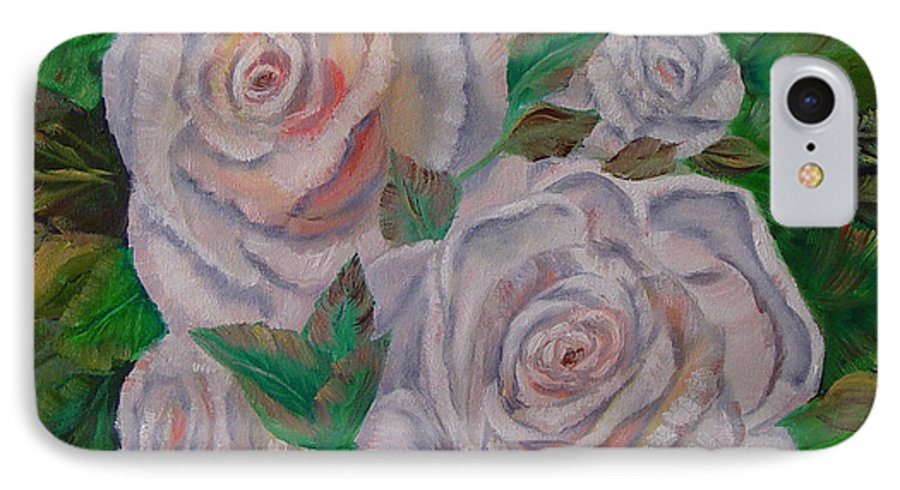 Roses IPhone 7 Case featuring the painting White Roses by Quwatha Valentine