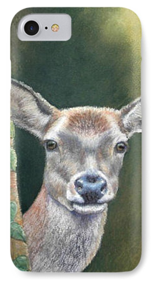 Rainforest IPhone 7 Case featuring the painting White Tail Doe At Ancon Hill by Ceci Watson