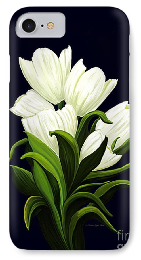Mixed Media IPhone 7 Case featuring the painting White Tulips by Patricia Griffin Brett
