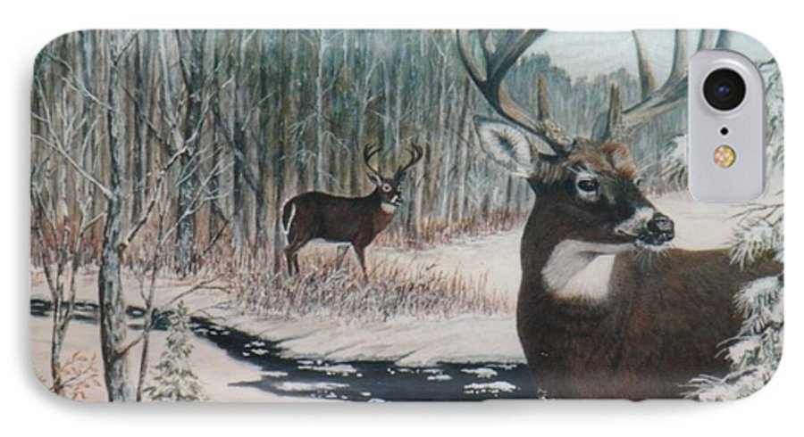 Deer; Snow; Creek IPhone 7 Case featuring the painting Whitetail Deer by Ben Kiger
