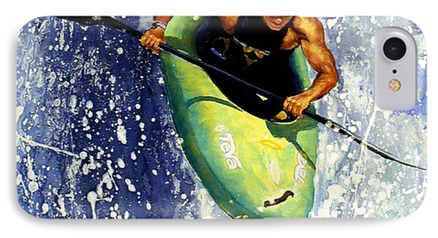 Kayaker IPhone 7 Case featuring the painting Whitewater Kayaker by Lynee Sapere