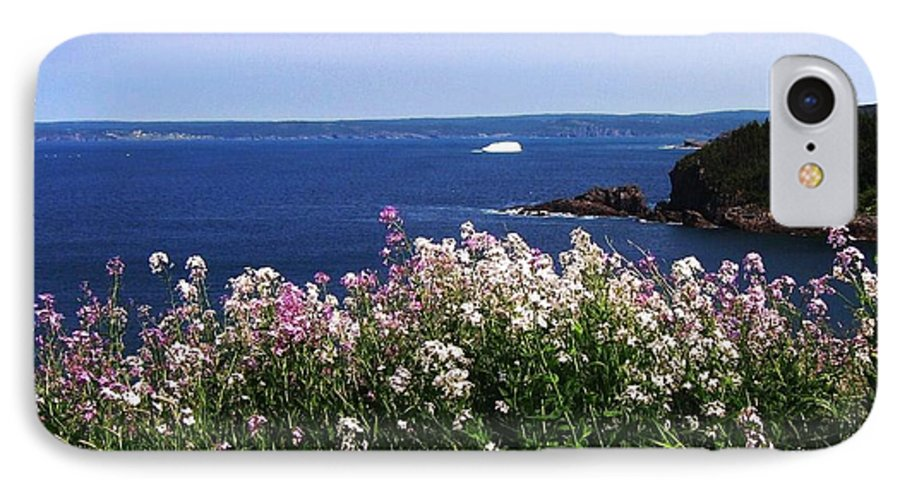 Photograph Iceberg Wild Flower Atlantic Ocean Newfoundland IPhone 7 Case featuring the photograph Wild Flowers And Iceberg by Seon-Jeong Kim