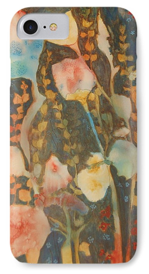 Flower Abstract IPhone 7 Case featuring the painting wild flowers in the wind I by Henny Dagenais