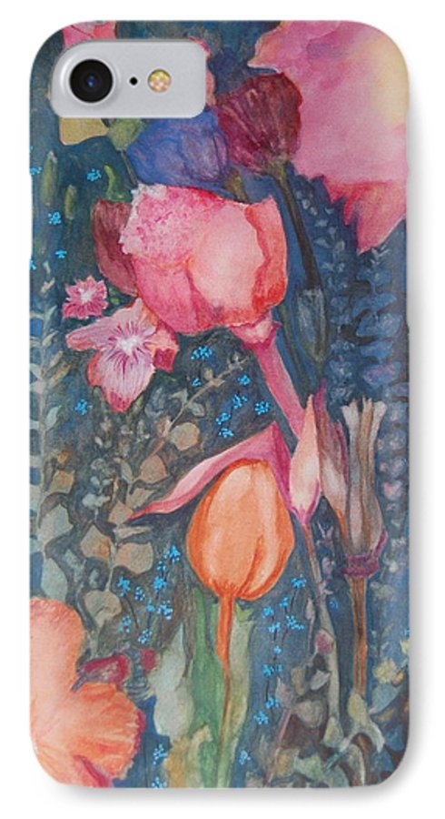 Flower Abstract IPhone 7 Case featuring the painting Wild Flowers In The Wind II by Henny Dagenais