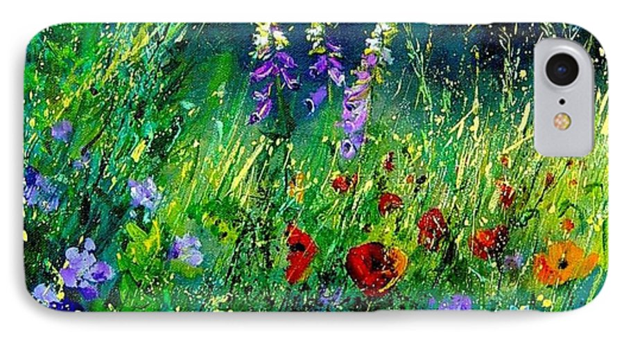 Poppies IPhone 7 Case featuring the painting Wild Flowers by Pol Ledent