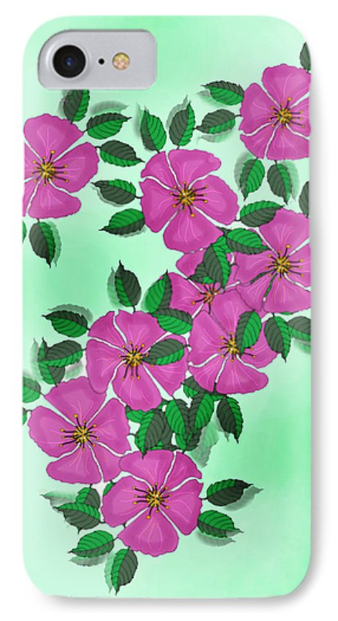 Floral IPhone 7 Case featuring the painting Wild Roses by Anne Norskog